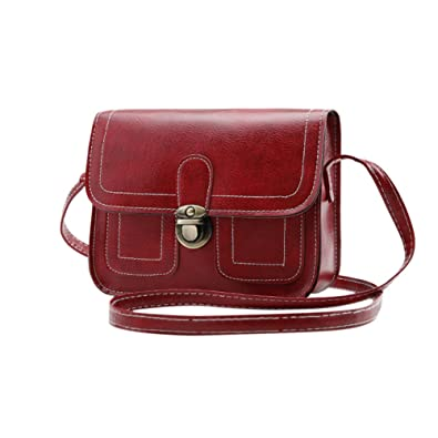 9705b55215 Image Unavailable. Image not available for. Color  Vintage Women Square PU  Leather Shoulder Bag Stylish Solid ...
