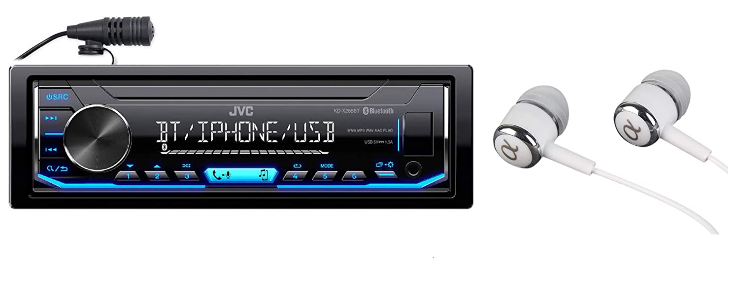 JVC KD-X255BT Built-in Bluetooth, AM/FM, USB, MP3, Pandora, Spotify, iHeartRadio Digital media receiver, Works with Apple and Android Phones, iPod/iPhone Music Playback / FREE ALPHASONIK EARBUDS