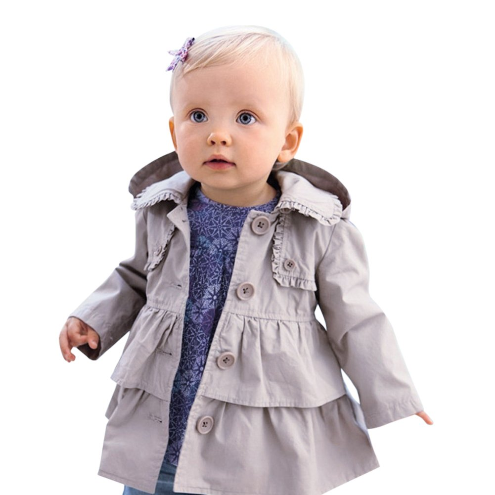 De feuilles Chic-Chic Toddler Baby Girls Hooded Trench Coat Princess Autumn Windbreaker Jacket Outwear