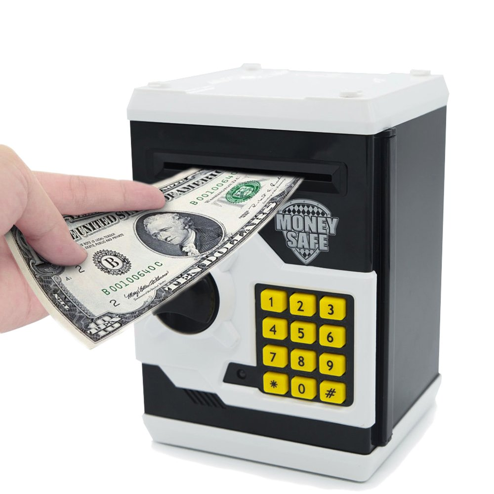 APUPPY Cartoon Password Piggy Bank Cash Coin Can,Electronic Money Bank,Birthday Gifts Toy Gifts for Kids (White)