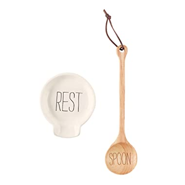Mud Pie 41300001 Set of 2 Spoon Rest Set, One Size, White, Brown