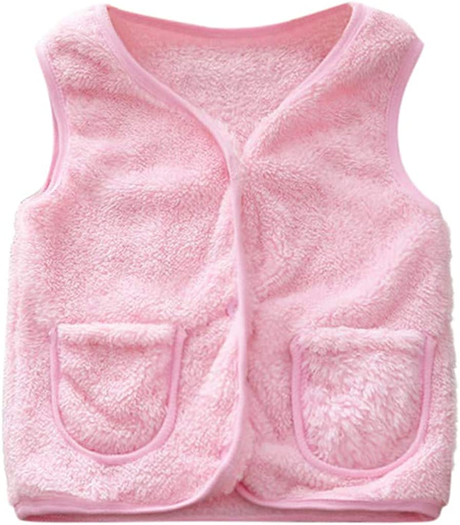 Infant Baby Boy Girls Winter Thick Warm Solid Color Plush Coat Outwear Vest Waistcoat
