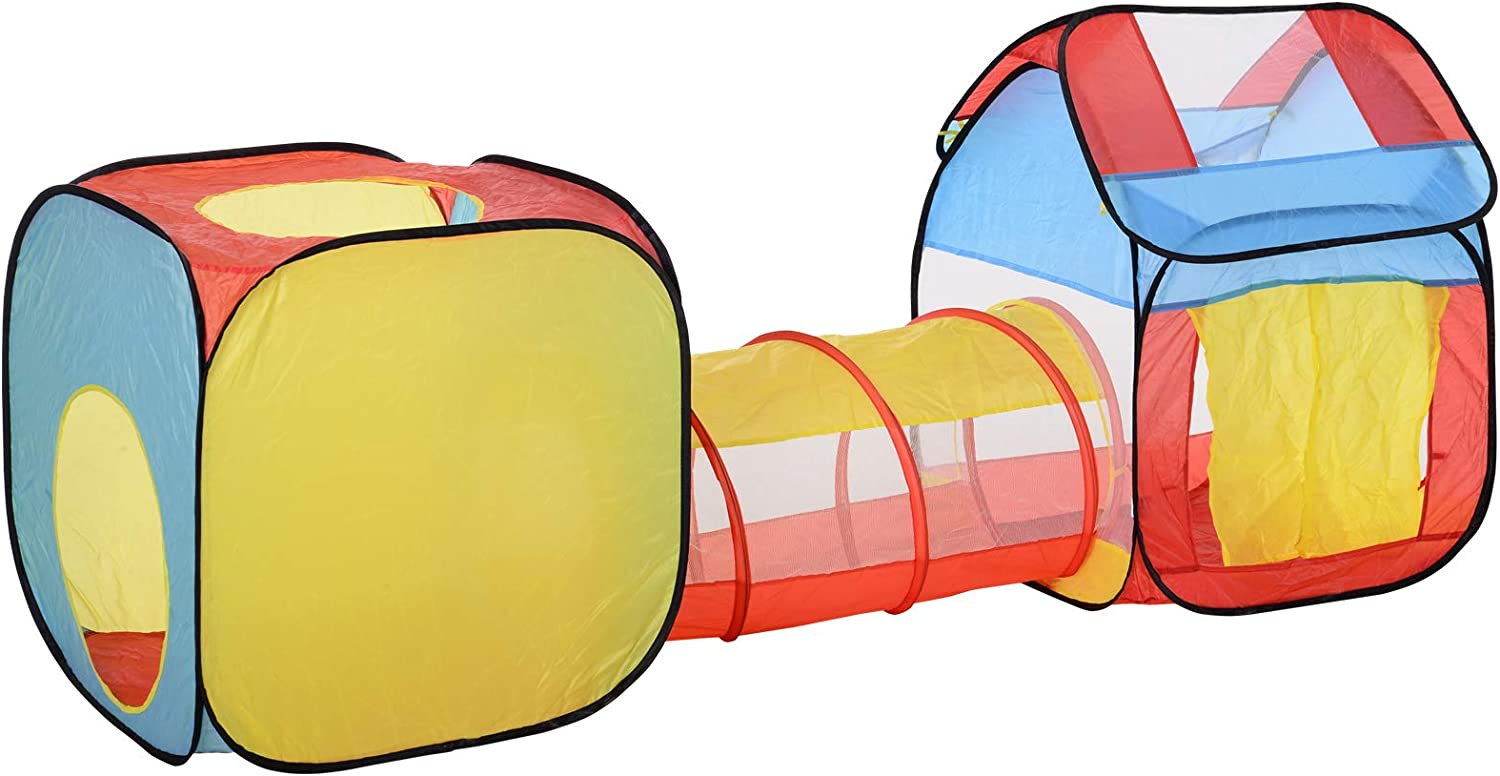 HOMCOM 3 in 1 Design Pop Up House Tent Play Tunnel Set Toddlers Crawl Tunnel Kids Toy Gift Playhouse Indoor Outdoor Use Multi-Color 230 x 70 x 89 cm