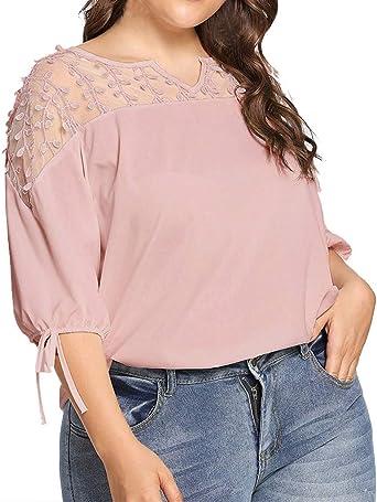 Costura Color de ContrasteTops Ronamick Hermoso Camisetas Mujer Verano Blusa Niña Manga Larga Hermoso Camisa Negra(Rosado,XXXL): Amazon.es: Iluminación