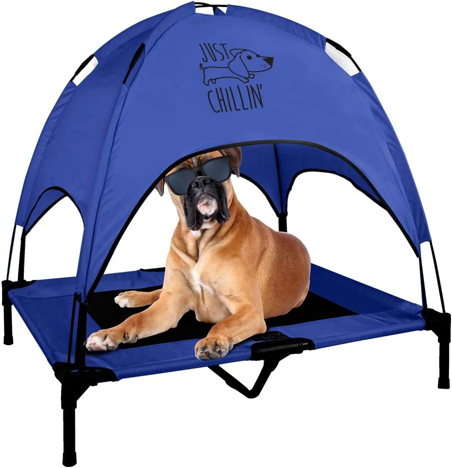 Floppy Dawg Just Chillin Elevated Dog Bed. Medium and Large Size Dog Cots in a Variety of Colors. Removable Canopy for Indoor or Outdoor Use. Lightweight and Portable. Let Your Dog Chill in Style