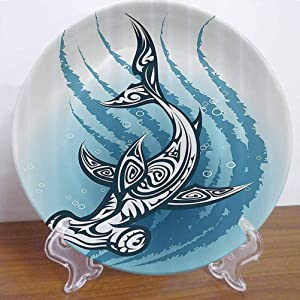 "Burton Edith Tablecloth 10"" Shark Ceramic Decorative Plate Hammerhead Fish with Ornamental Effects Swimming Ocean Decor Accessory for Fine Dining, Parties, Wedding"