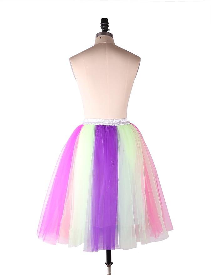 9474731e2014 Izanoy Damen Regenbogen Rock Tutu Petticoat Krinoline Unterrock Slip ...
