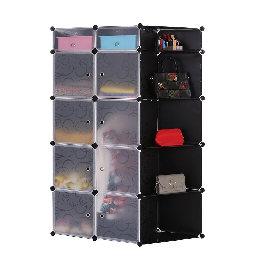 Portable DIY Storage Cabinet,Cubby Shelving Modular 15 Cube Storage Space Saving Wardrobe Closets with Stickers for Bedroom Clothes Shoes Toys (Black) by maxgoods (Image #4)
