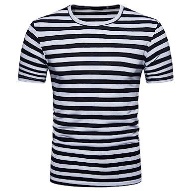 1d0c4d4d57a Mens T Shirts, Quistal Men's Summer Short Sleeve Shirts Stripe Round Neck  Casual Tops (