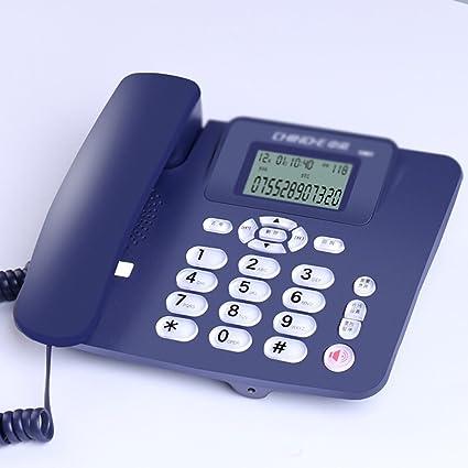 SAN_X Teléfono Retro Teléfono Fijo inalámbrico Teléfono Fijo de la Oficina doméstica Máquina Individual Identificador de Llamadas Batería Blanca Negra (Color : Azul): Amazon.es: Electrónica
