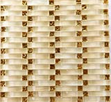 Hominter 10-Sheets Hand-Painted Glass Tile Backsplash, Gold Square Mosaic Wall Tiles, Arched Off-White Crystal Decor Bathroom and Kitchen Tile YF-88