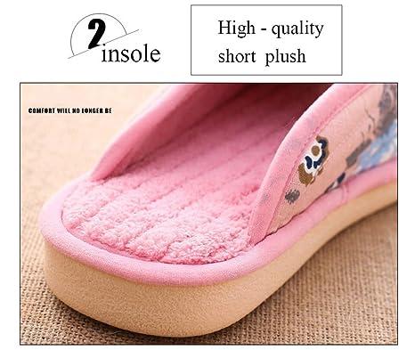 Unisex Slip-On Zapatillas antideslizante puntera abierta sandalia algodón Mulas zapatos de impresión para adultos, rosa