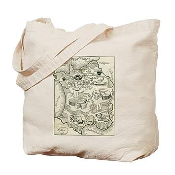 Bolsa de lona natural con el mapa de quesos de Francia ...