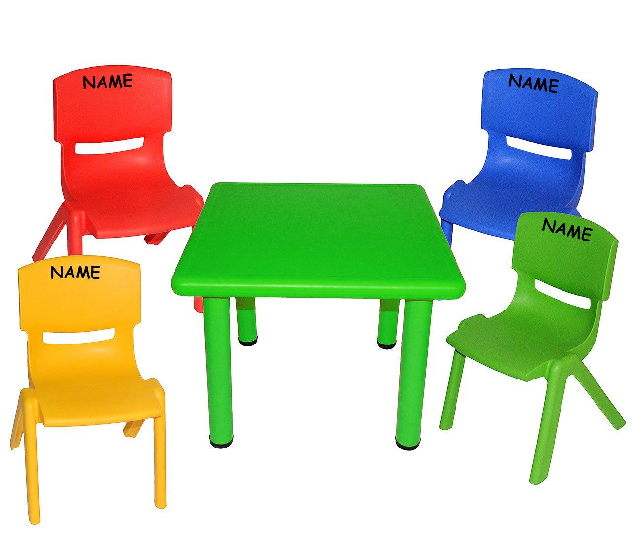5 tlg. Set: Sitzgruppe - Tisch + 4 Kinderstühle - BUNT - incl. Namen - stapelbar / kippsicher / bis 100 kg belastbar - für INNEN & AUßEN - Plastik / Kunststoff - Stuhl Stühle / Kinderzimmer / Kindertisch - Kinder - Gartenmöbel Kindertischgruppe - Tisc