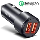 Car Charger, JSAUX Quick Charge 3.0 3A Dual USB Ports 36W Car Charger Adapter Aluminum for Samsung Galaxy S9 S8 Plus Note 8 S7, iPhone X 8 7 6S 6 Plus, iPad Air 2 Mini, LG G7 V30 G6 V20, Moto & More