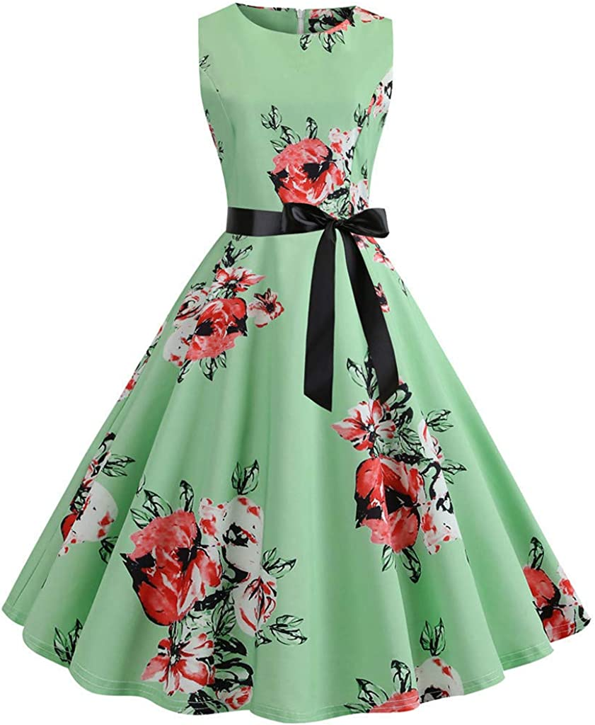 Vintage Dresses for Women,Women Vintage 1950s Retro Sleeveless O Neck Print Evening Party Prom Swing Dress