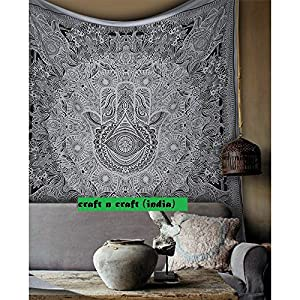 Craft N Craft India Wall Tapestry - Hanging Mandala Tapestries – Bohemian Beach Picnic Blanket – Hippie Decorative & Psychedelic Dorm Decor - 85 x 83 Inch (White Queen) by
