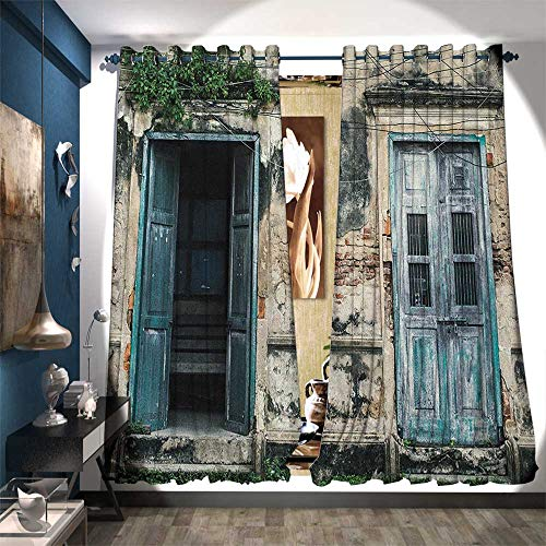 Blackout Window Curtain Doors of Old Rock House with French Frame Details in Countryside European Past Theme Drapes for Living Room W84 x L84 Teal Grey ()