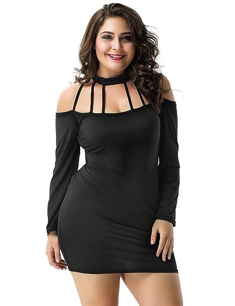 Ohyeahlady Women Plus Size Mini Club Dress Strappy Halter Long