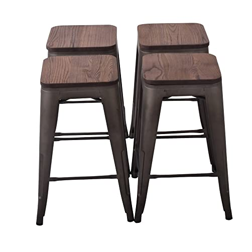 Changjie Furniture 24 Inch Backless Industrial Metal Bar Stool Kitchen Stackable Counter Bar Stools Set of 4 Bronze Metal with Wood Seat