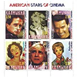 American stars of Cinema block of 6 stamps with Michael Douglas, Marlon Brando and Elizabeth Taylor / Russian Federation