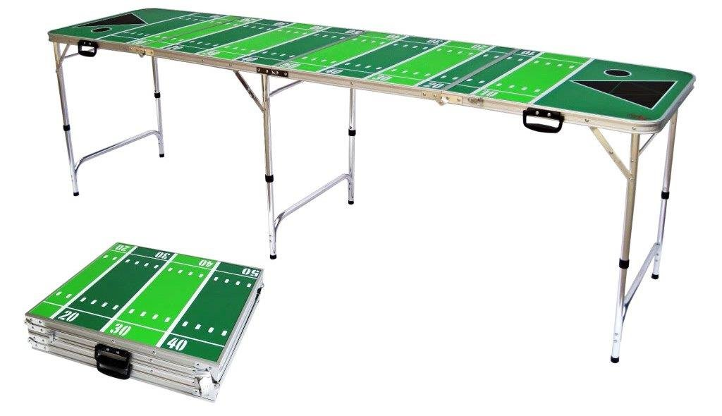 8' Folding Beer Pong Table with Bottle Opener, Ball Rack and 6 Pong Balls - Football Design - By Red Cup Pong by Red Cup Pong