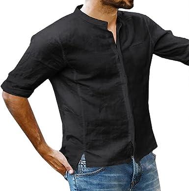 Camisa Casual para Hombres, Blusa de Lino Transpirable, Suelta y de Manga Larga Camisa de Cuello Alto, Llana, sin Mangas S-2XL: Amazon.es: Ropa y accesorios