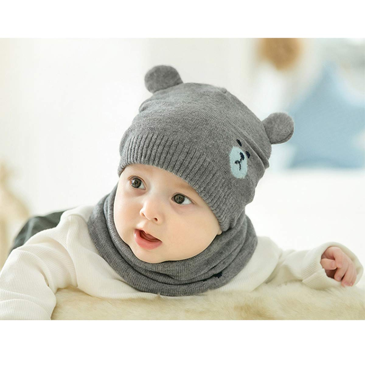 bd5f422f cjixnji Baby Boy Girl Cute Baby Winter Hats Scarfs Set, Children Toddler  Warm Beanie Hat Knit Soft Cotton Caps Scarves for Infant Kids 0-36 Months  Children ...