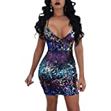 dc29192a Womens Gradient Sequin Slim Fit Bodycon Dress Sexy Night Club Dancing Party  A Line Dress