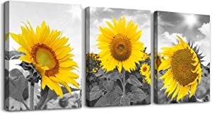 Bathroom Wall Decor Canvas Wall Art for Bedroom kitchen Living Room Wall Decoration Black and White Triptych Flower Yellow Sunflower Pictures Canvas Prints 3 Piece Set Artwork for Walls Ready to Hang