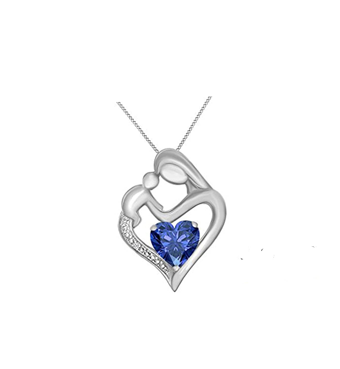 Suhana Jewellery Simulated Diamond Studded Elegant Fashion Charm Heart MOM Pendant Necklace in 14K White Gold Plated With Box Chain