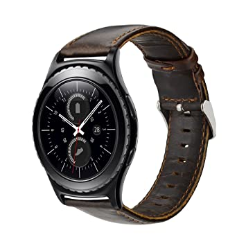 MroTech Correa Piel 20mm Banda compatible para Samsung Galaxy Watch 42mm/Active/Active2 40mm 44mm/Gear Sport/S2 Classic/Vivoactive 3/Ticwatch ...
