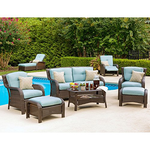 Hanover STRATHMERE6PCBLU Strathmere 6-Piece Lounge Set, Ocean Blue Outdoor Luxury Recliner
