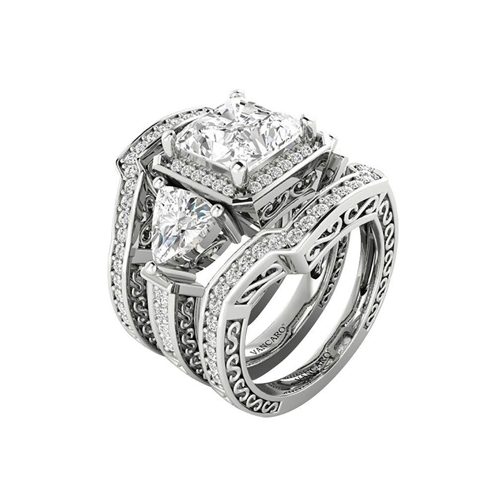 Juego de 3 anillos de boda con incrustaciones de diamantes de imitación para mujer, forma cuadrada, plata US 9: Amazon.es: Belleza