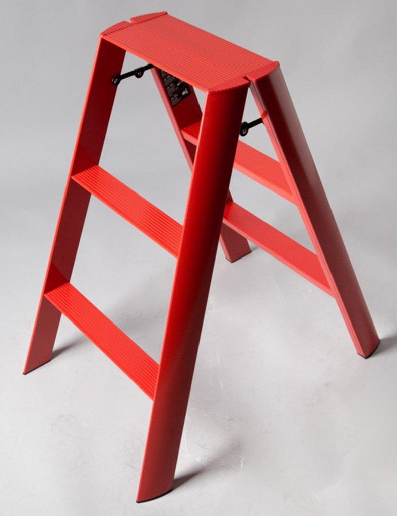 JJJJD 3ステップラダースツール、アルミ合金、ポータブル折りたたみ、アンチスリップマット付き (色 : 赤) B07Q7ZG2RC 赤