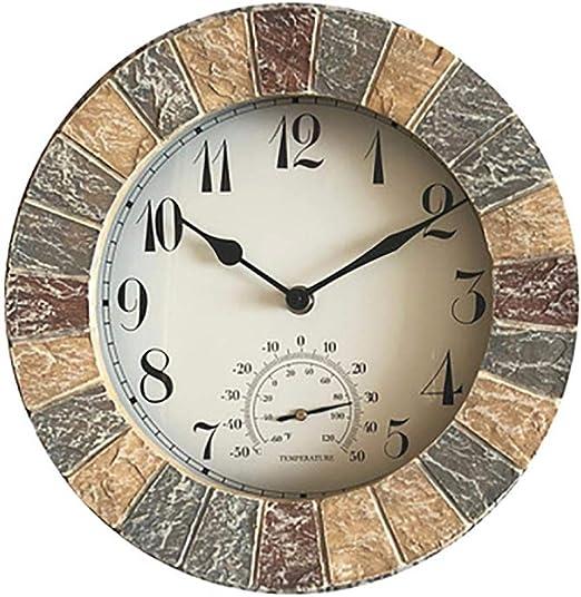 KUNY Relojes de jardín al Aire Libre Impermeable, 26cm jardín Ornamentos al Aire Libre Reloj Pared Color: Amazon.es: Jardín