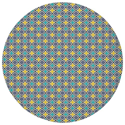 Round Rug Mat Carpet,Trellis,Victorian Baroque Ancient Pattern in Vibrant Colors Aged Dated Design,Purple Yellow Sky Blue,Flannel Microfiber Non-Slip Soft Absorbent,for Kitchen Floor Bathroom ()