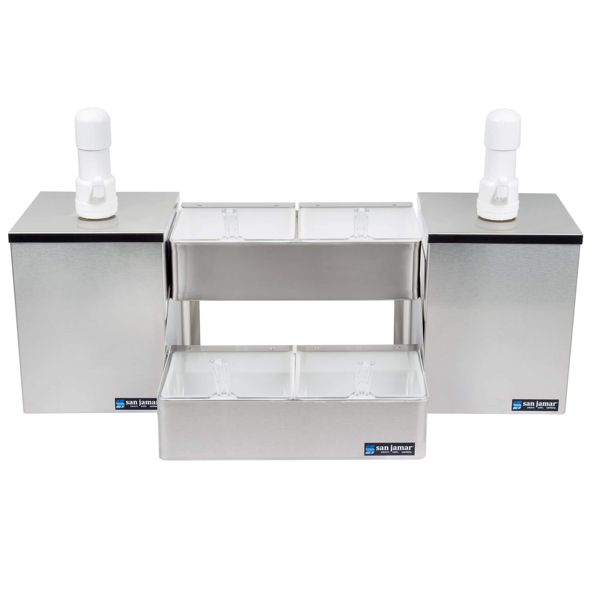 TableTop King P9825 Pump and Condiment Tray Center with 4 Trays and 2 Pump Boxes