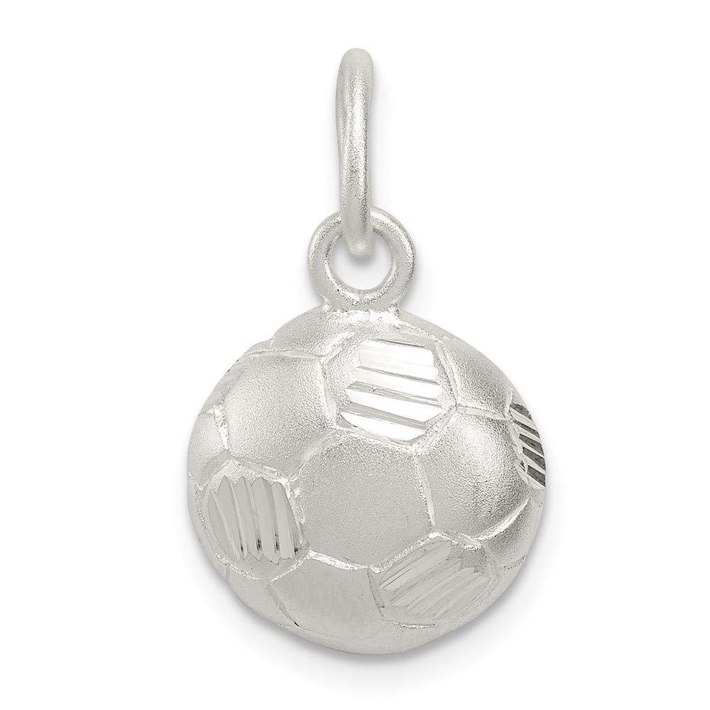 925 Sterling Silver Diamond-Cut Sports Charm Soccer Ball Pendant