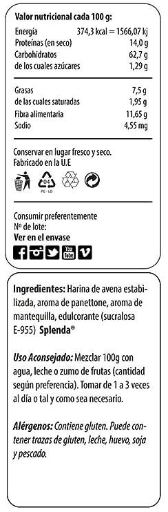 Max Protein Panettone Harina de Avena - 1000 gr: Amazon.es: Salud y cuidado personal
