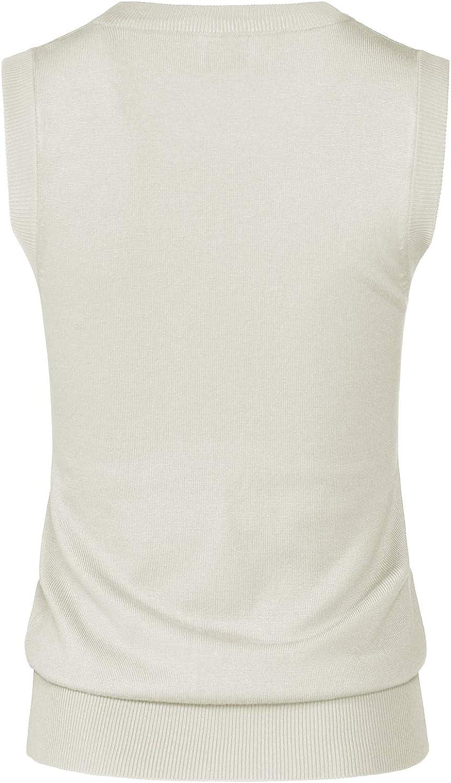 JSCEND Womens Solid Basic V-Neck Sleeveless Soft Stretch Pullover Sweater Vest Top