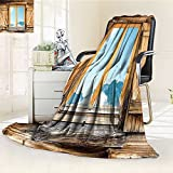 YOYI-HOME Lightweight Summer Duplex Printed Blanket,of A Mountain Hut with Mountain Reflection in