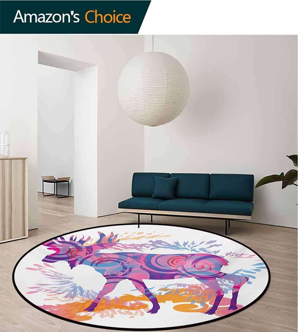 Moose Modern Machine Washable Round Bath Mat,Unusual Deer Figure with Trippy Featured Color Effects Digital Vivid Display Non-Slip Living Room Soft Floor Mat,Diameter-59 Inch
