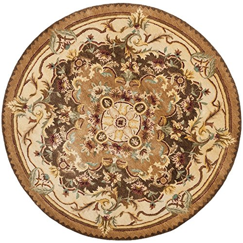 Safavieh Empire Collection EM823B Handmade Traditional European Brown and Beige Premium Wool Round Area Rug (4' Diameter)
