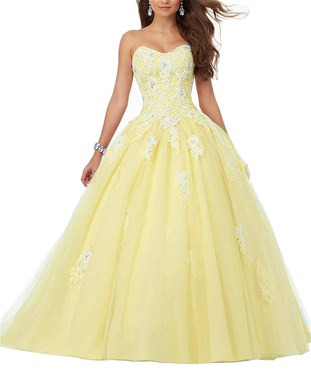 Yellow Sophie Women's Strapless Sweetheart Lace Applique Sweet 15 Ball Gowns Quinceanera Dress S198