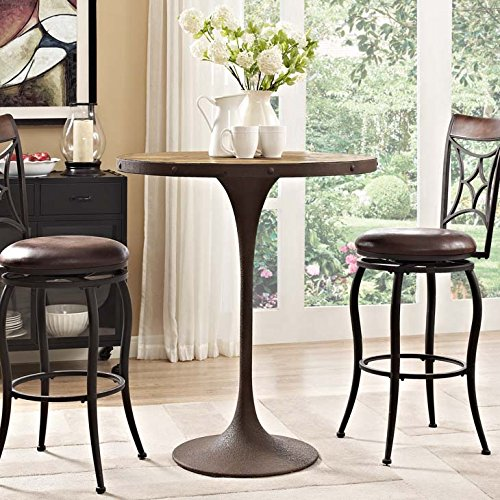 (Modway Drive Round Pedestal Wood and Iron Bar Table)