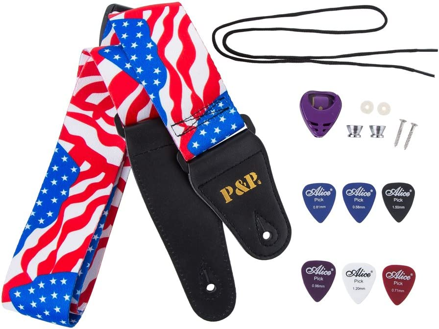 35-57 Length US Flag 1 Guitar Straps for Acoustic//Electric//Bass /& Guitar US Flag Stars-2 Wide