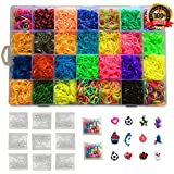 Kiserena 7000 Premium Rubber Bands Bracelet Refill Kit - 28 Rainbow Loom Band Colors, 350 S Clips, 12 Charms, and 100 Beads - Fun DIY Craft for Kids with Mega Box Organizer - Compatible with all Looms