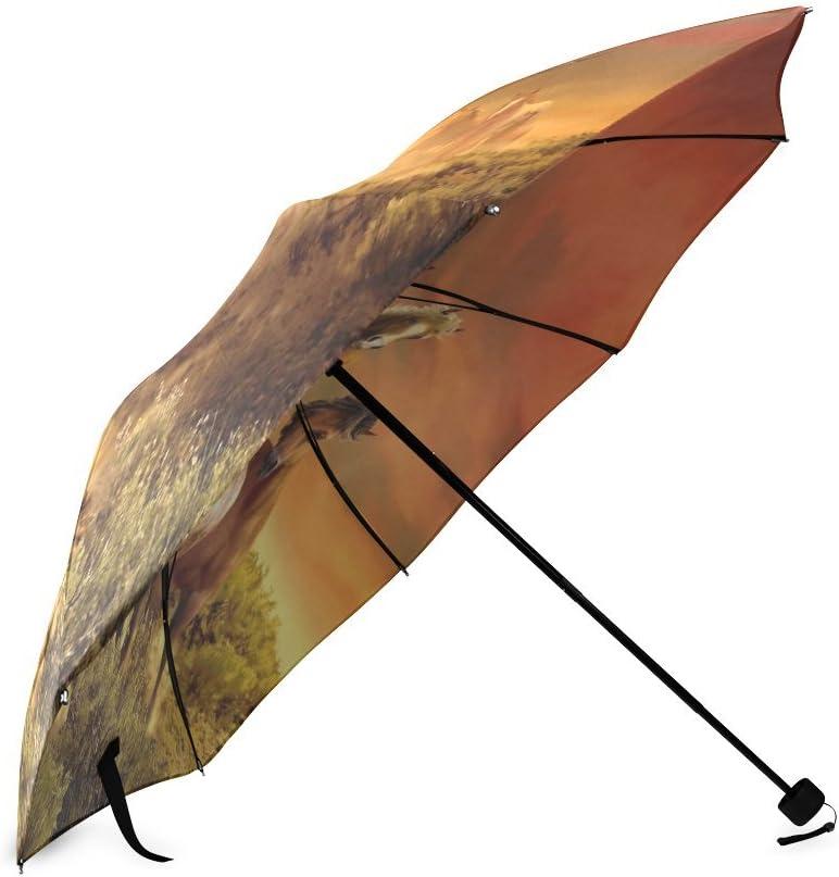 Custom Horses Running Compact Travel Windproof Rainproof Foldable Umbrella