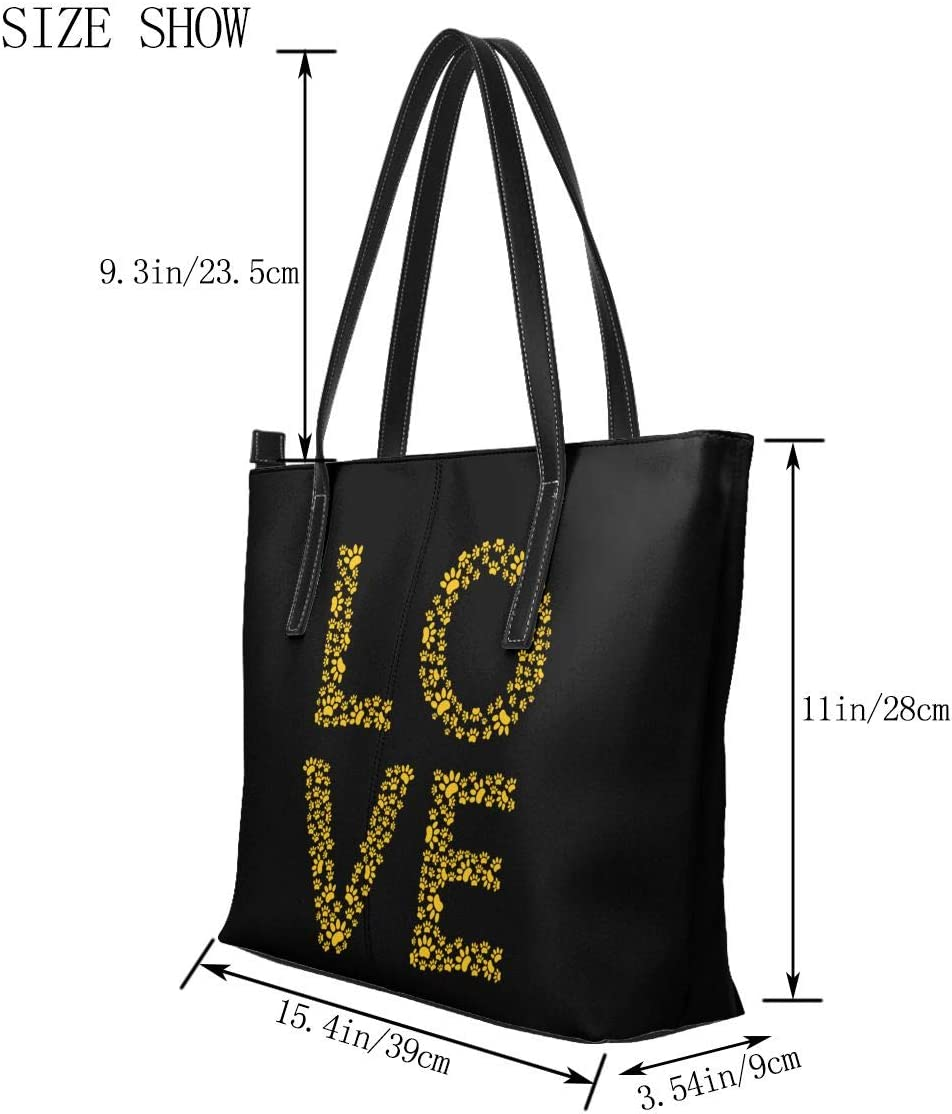 WAY.MAY Love Paw Leather Tote Bags Zippered Handbags Shoulder Bag